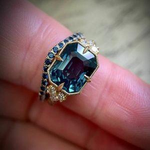 2pc 14kt Yellow Gold Blue Sapphire Ring Set
